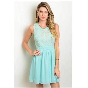 Mint Embroidered Skater Dress L